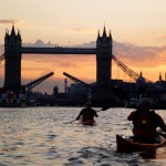 Chelsea Kayak Club - paddling into the sunset under Tower Bridge
