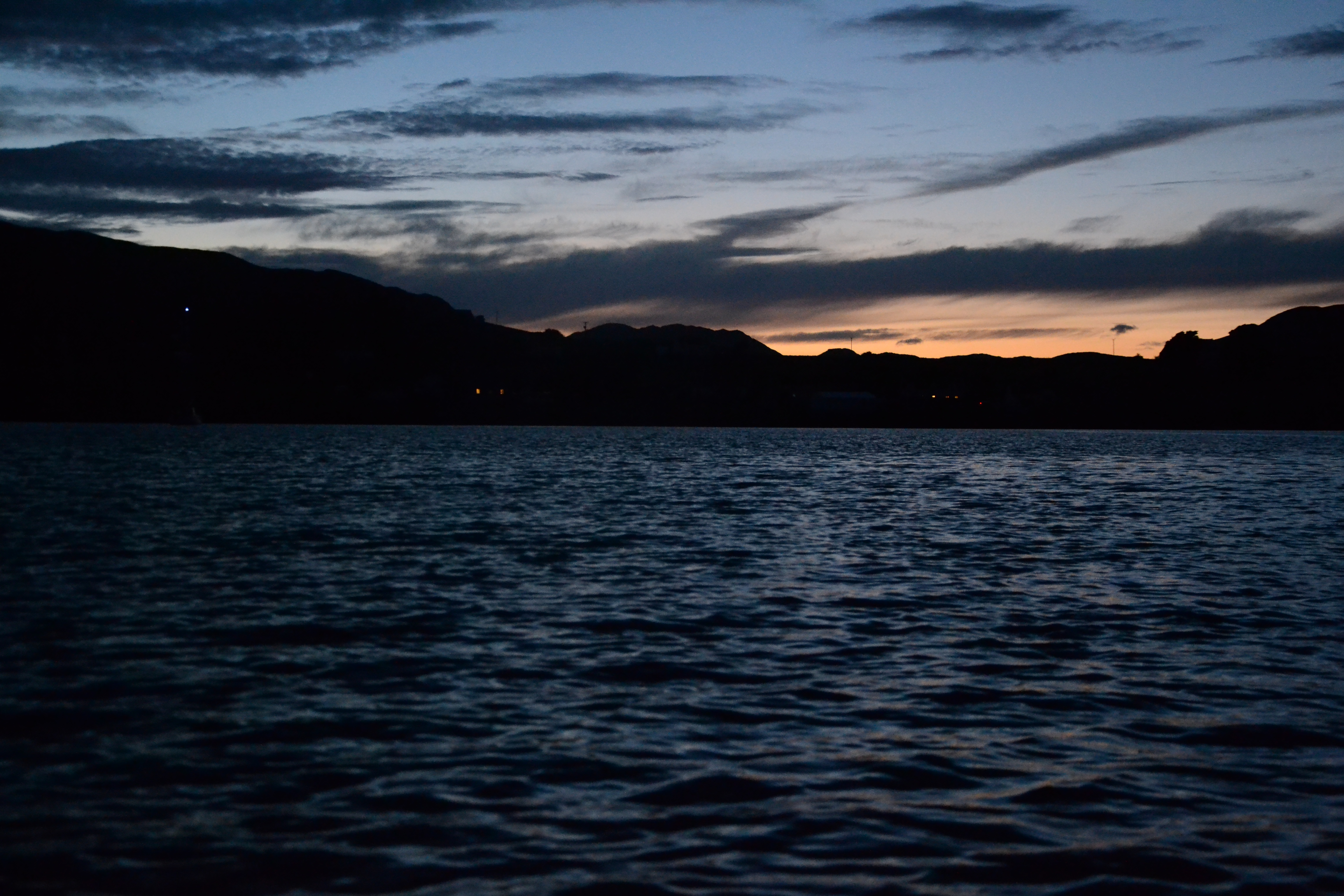 Kilchoan at Sunset with mast light and houses